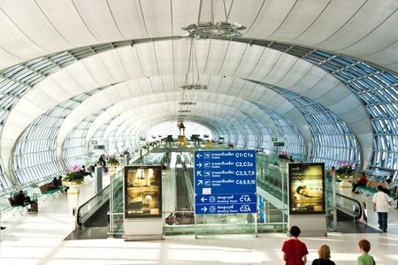 departure Gate and hall in the new Airport Suvarnabhumi in Bangkok
