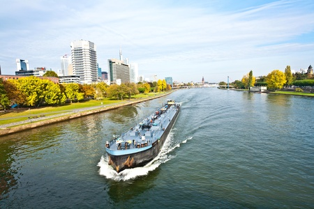 freight ship on the river Main in Frankfurt