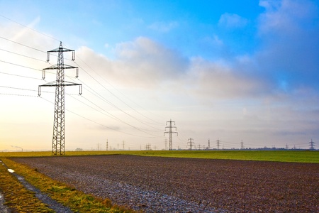 electrical tower in landscape with dark clouds Stock Photo - 10096628