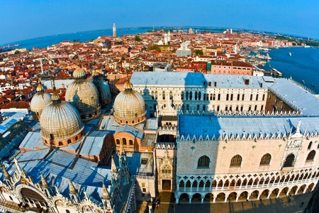 overlooking the beautiful city and old palaces  of venice with the laguna from the Markus tower photo
