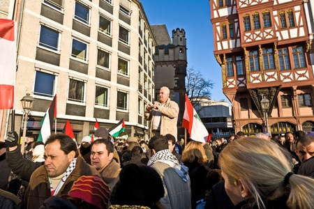 FRANKFURT, GERMANY - 3 JANUARY: 10000 people demonstrate against the bombing of Gaza and for freedom in Palestine and a an own state for the palestines at the Roemerberg  at January 3, 2009 in Frankfurt, Germany.
