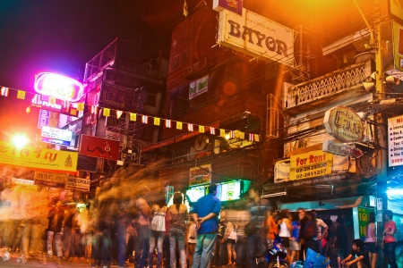 khao: BANGKOK, THAILAND - 2 DEC: Traveler and local people have party in the Khao San Road on December 2, 2006 in bangkok, Thailand. Kao San road is the meeting point for all low budget travellers and a24 hour party place.