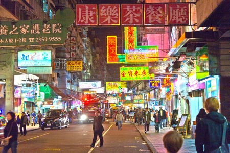 night market: HONG KONG, CHINA - JAN 9: Police in Hong Kong saves the area after an acid on January 9, 2010 in Hong Kong, China. Nine tourists and a seven-year-old were among those treated in hospital. Editorial