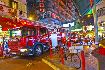 treated: HONG KONG, CHINA - JAN 9: Police in Hong Kong saves the area after an acid on January 9, 2010 in Hong Kong, China. Nine tourists and a seven-year-old were among those treated in hospital. Editorial