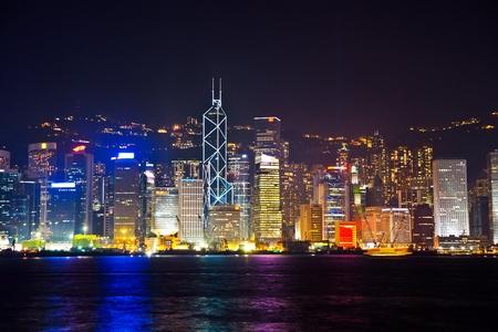 hong kong night: KOWLOON, HONKGONG - JANUARY 9: Hong Kong famous Laser harber Show seen from Kowloon on  January 09,2010 Kowloon, Hongkong Editorial