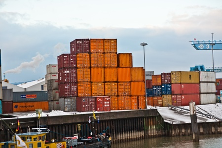 MAINZ, GERMANY - JANUARY 1: container in famous container harbor in Winter on January, 1, 2010 in Mainz, Germany. He was constructed by Eduard Kreyssig between 1880 and 1887 and placed on an old roman war harbor. Stock Photo - 10274012