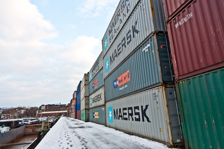 MAINZ, GERMANY - JANUARY 1: container in famous container harbor in Winter on January, 1, 2010 in Mainz, Germany. He was constructed by Eduard Kreyssig between 1880 and 1887 and placed on an old roman war harbor. Stock Photo - 10274020