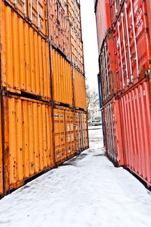 MAINZ, GERMANY - JANUARY 1: container in famous container harbor in Winter on January, 1, 2010 in Mainz, Germany. He was constructed by Eduard Kreyssig between 1880 and 1887 and placed on an old roman war harbor. Stock Photo - 10274029
