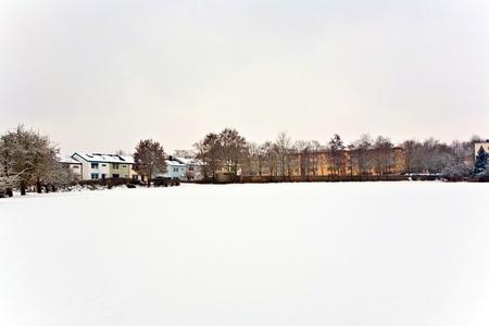 settlement in winter landscape Stock Photo - 10312108