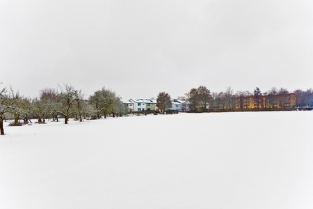 settlement in winter landscape Stock Photo - 10312105