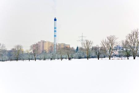 settlement: settlement in winter landscape Stock Photo