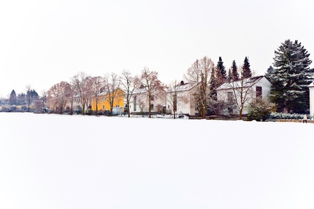 settlement in winter landscape Stock Photo - 10312110