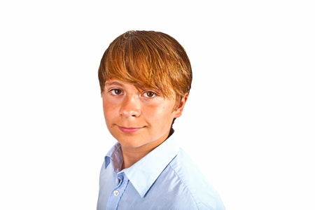 cute young happy boy in studio photo