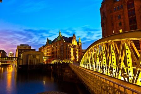 hamburg: Speicherstadt in Hamburg by night Stock Photo