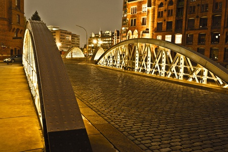 Speicherstadt in Hamburg by night photo