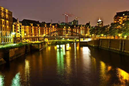 Speicherstadt in Hamburg by night Stock Photo