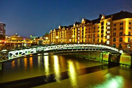 Speicherstadt in Hamburg by night photo