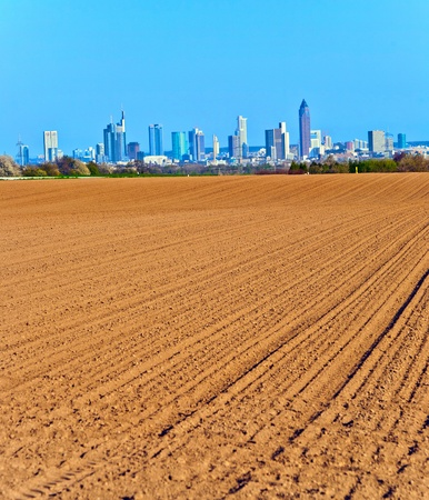 beautiful view over acres to the Skyline of Frankfurt photo