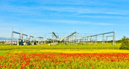power plant and distribution station in beautiful landscape Stock Photo - 10528182
