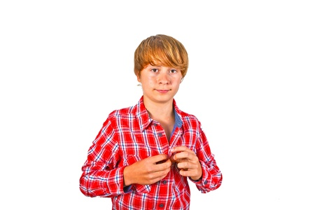 portrait of cute smiling boy with orange shirt Stock Photo - 10621126
