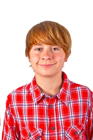 portrait of cute smiling boy with orange shirt photo