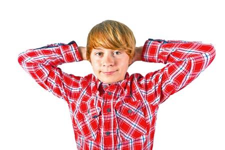 portrait of cute smiling boy with orange shirt photo