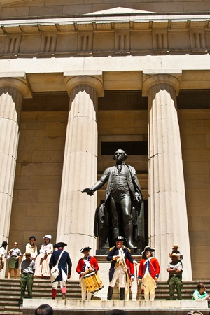 NEW YORK, USA – JULY 9: Ceremony for declaration of independence in old costumes takes place at the Washington statue in front of federal Hall National Memorial  on July 9,2010 in New York, USA. Stock Photo - 10651134
