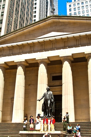 federal hall: NEW YORK, USA – JULY 9: Ceremony for declaration of independence in old costumes takes place at the Washington statue in front of federal Hall National Memorial  on July 9,2010 in New York, USA.