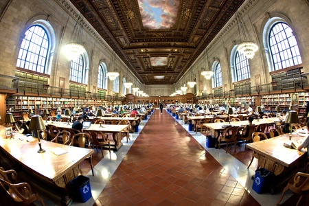 OLD LIBRARY: NEW YORK CITY - JULY 10: New York Public Library is the third largest public library in North America.  July 10, 2010 in Manhattan, New York City.