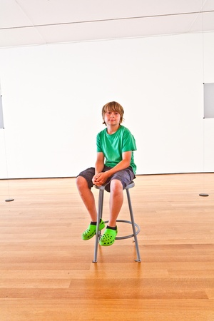 smiling boy posing inside the Museum of modern art Stock Photo - 10718439