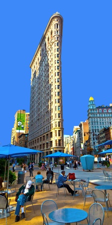 NEW YORK, USA – JULY 12: Facade of the Flatiron building in early morning in morning sun on July 12,2010 in New York, USA.