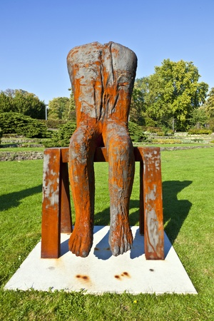 """finalized: FRANKFURT, GERMANY - SEP 25: the  sculpture biennale """"Blickachsen"""" shows sculpture from Abakanowicz, Koorida and  Venet on sep, 26,2010 in Frankfurt, Germany. Exhibition is finalized at Oct 3, 2010. Editorial"""