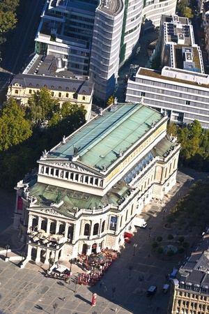aerial of famous Opera house in Frankfurt, the Alte Oper, Germany