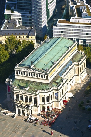 alte: aerial of famous Opera house in Frankfurt, the Alte Oper, Germany