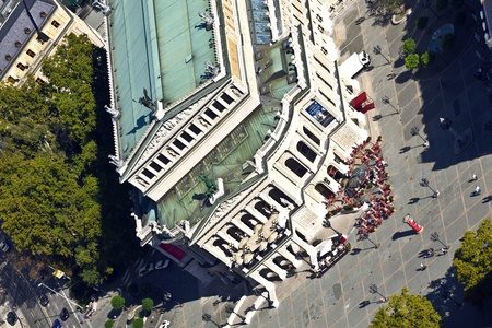 oper: aerial of famous Opera house in Frankfurt, the Alte Oper, Germany