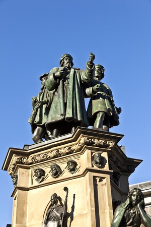gutenberg: statue of Johannes Gutenberg, inventor of book printing, Frankfurt, Germany