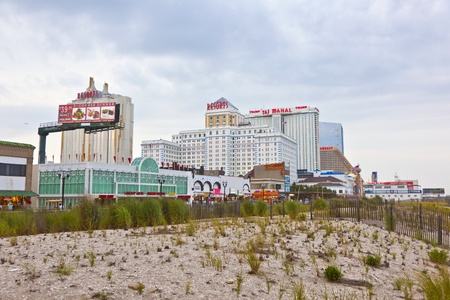 showboat: ATLANTIC CITY - JULY 13: Beachwalk in the evening in Atlantic City New Jersey on July 13, 2010 in Atlantic Sity, USA. Atlantic City is a nationally renowned resort city for gambling, shopping and fine dining.