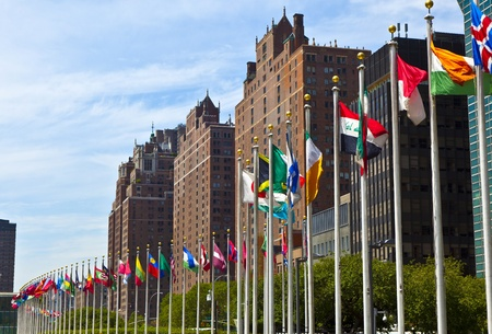 United Nations Headquarters with flags of the   members of the UN photo