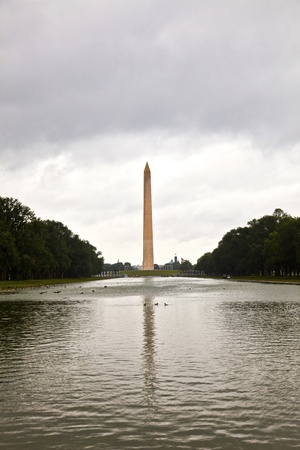 Outdoor view of Washington Monument in Washington DC in dark clouds Stock Photo - 10756565
