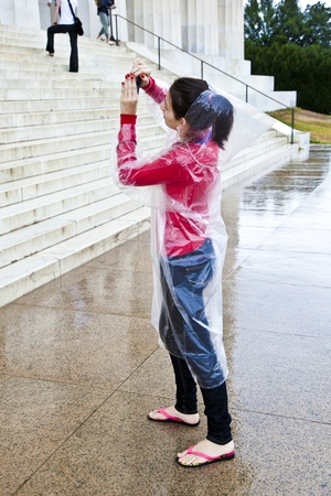 WASHINGTON, DC - JUL 7: even on rainy days people visit the Lincoln Memorial on July 7,2011 in Washington DC.  Approximately 6 million people visit the memorial annually and is open 24 hours on 7 days for public. Stock Photo - 10753264