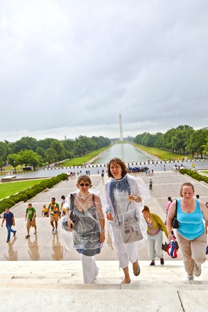 WASHINGTON, DC - JUL 7: even on rainy days people visit the Lincoln Memorial on July 7,2011 in Washington DC.  Approximately 6 million people visit the memorial annually and is open 24 hours on 7 days for public. Stock Photo - 10753266