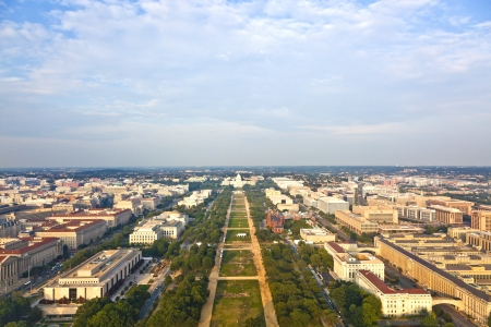 washington dc: view to capitol hill over the mall