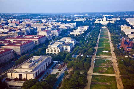 aerial views: view to capitol hill over the mall