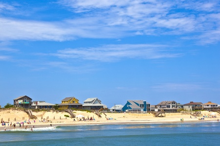 outer banks: beach with cottages at Nags Head in the outer banks Stock Photo