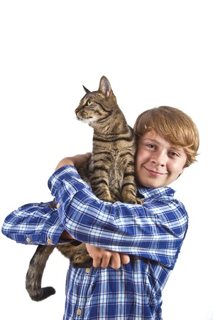 The boy holds on hands of a gray cat photo