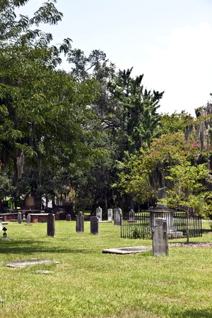 churchyard: Colonial Park Cemetery in Savannah at July 22.2011 - Colonial Park served as Savannah's cemetery for more than a century and contains over nine thousand graves. Established in 1750, by 1789 it had been expanded three times to reach the current size of s