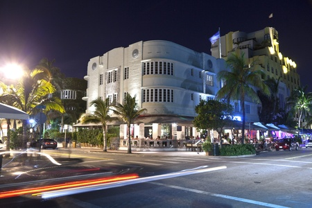 MIAMI BEACH, USA - August 02: Night view at Ocean drive on August 02,2010 in Miami Beach, Florida. Art Deco Night-Life in South Beach is one of the main tourist attractions in Miami. Stock Photo - 10793234