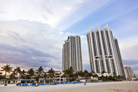 Miami beach with skyscrapers photo