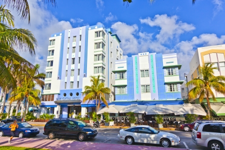 tourist attractions: MIAMI BEACH, USA - JULY 31: midday view at Ocean drive on July 31,2010 in Miami Beach, USA. Art Deco architecture in South Beach is one of the main tourist attractions in Miami. Editorial