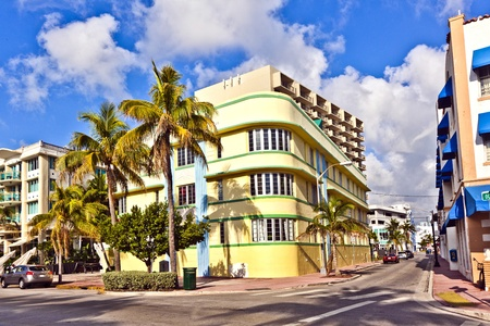historic district: beautiful houses in Art Deco style in South Miami Editorial